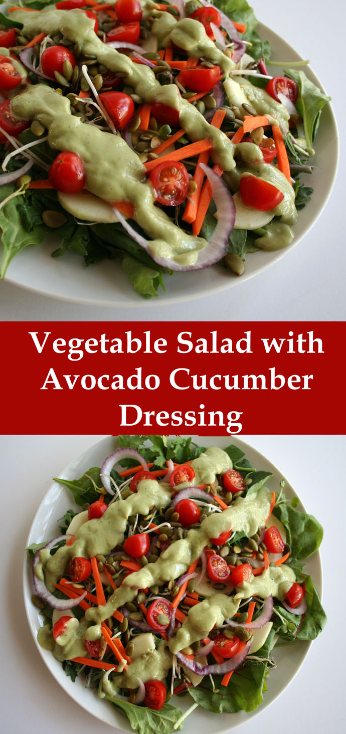 Vegetable Salad with Avocado Cucumber Dill Dressing collage photo with text.