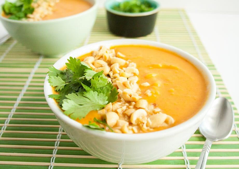 Thai Curry Soup close up.
