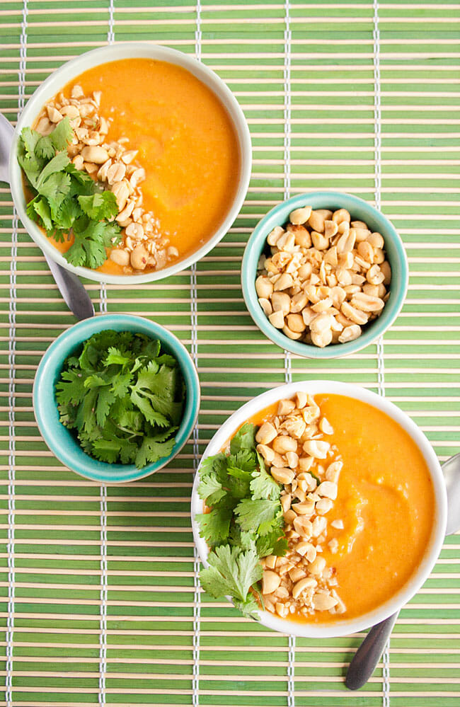 Thai Curry Butternut Squash Soup with peanuts and cilantro.