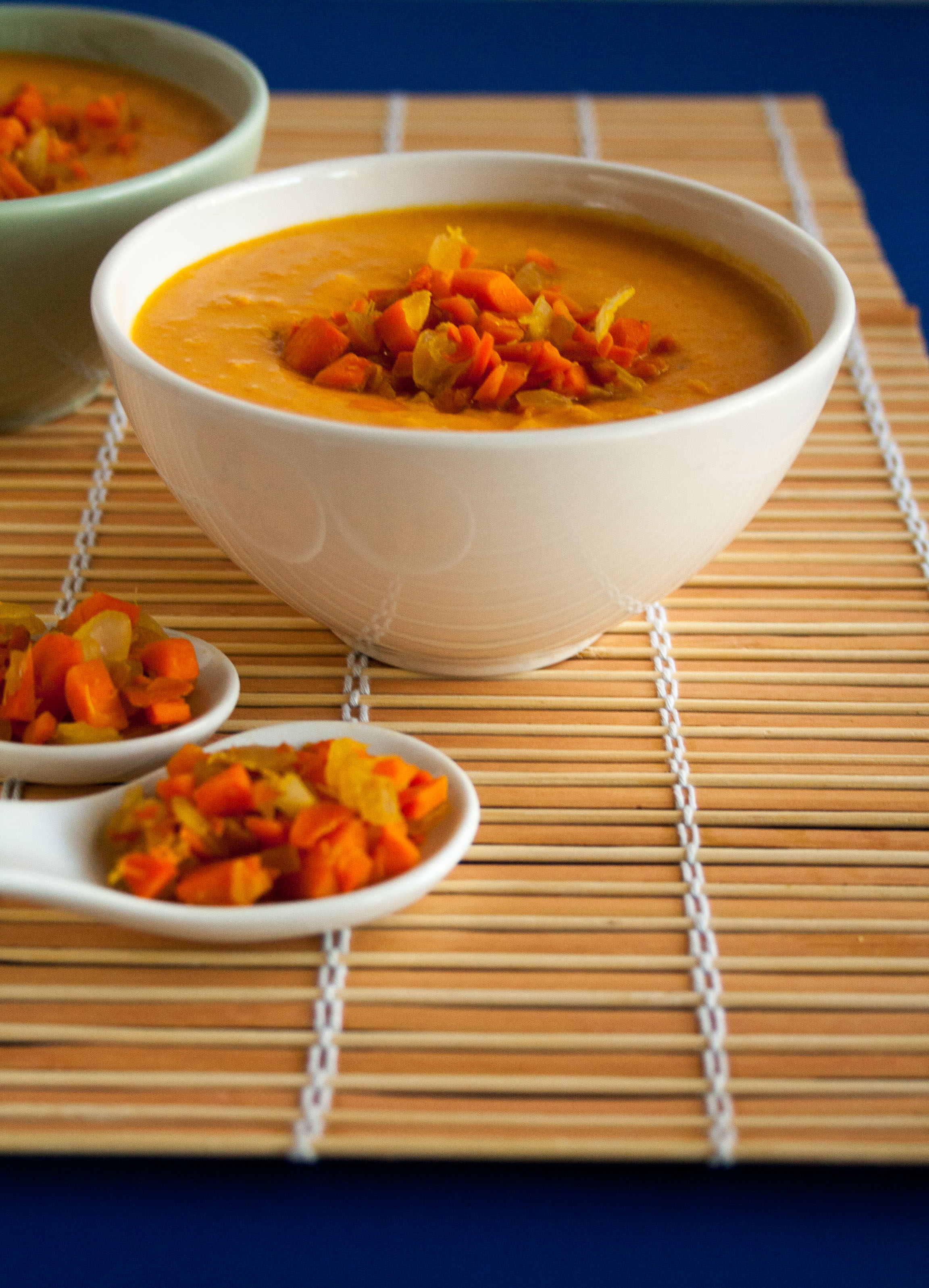Carrot Ginger Soup close up.