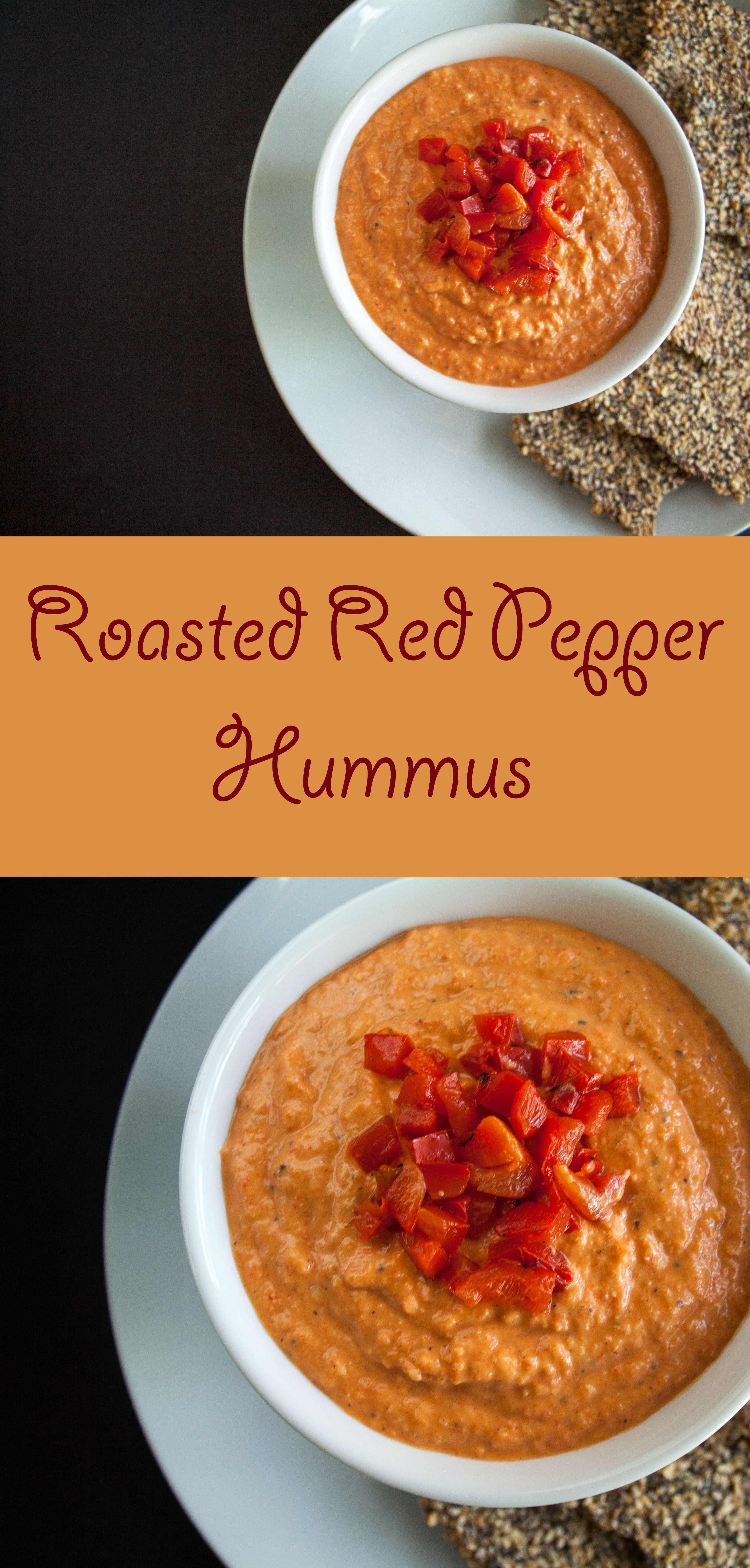 Roasted Red Pepper Hummus collage photo with text.
