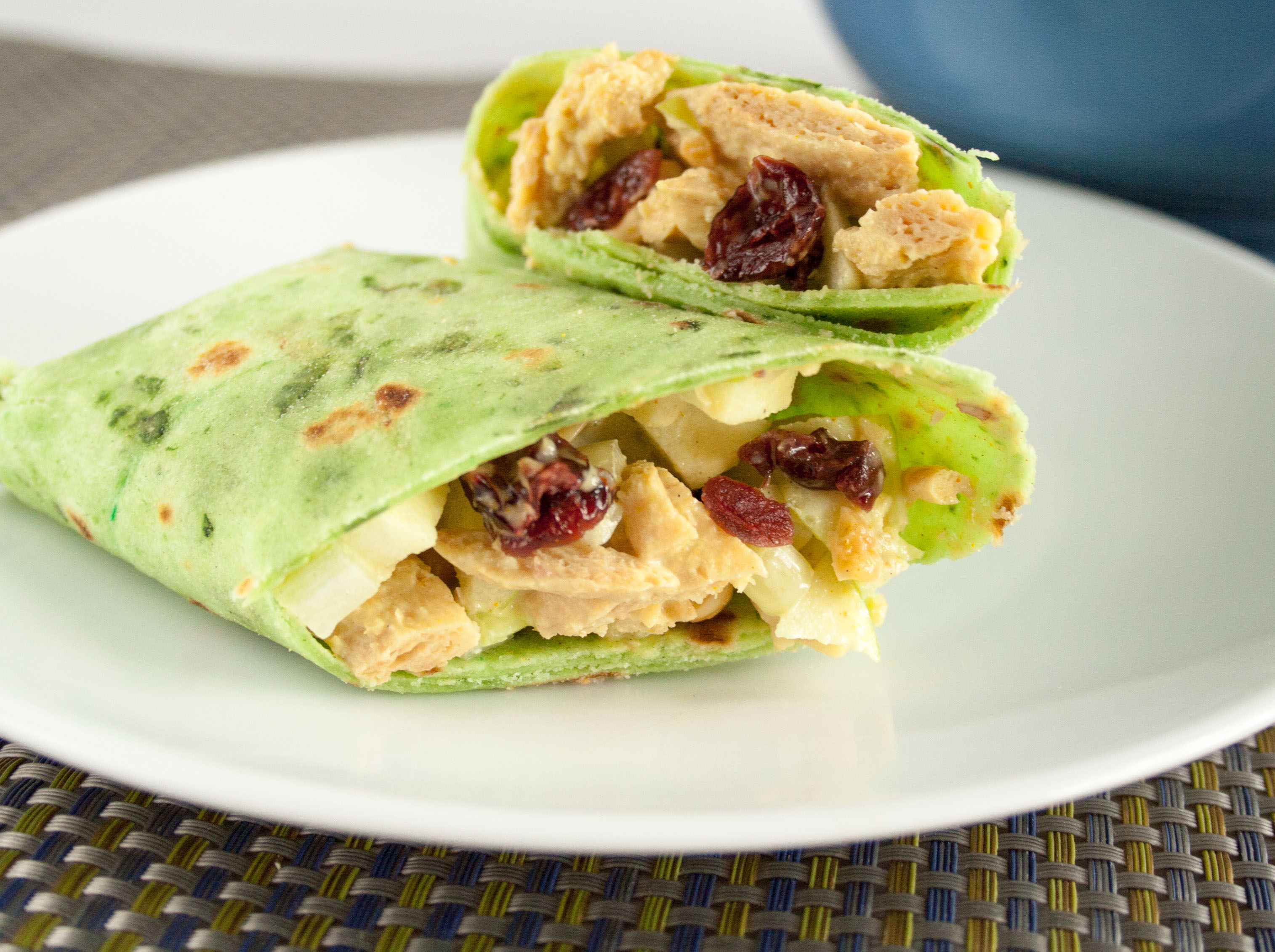 Vegan Curry Salad Wraps close up.