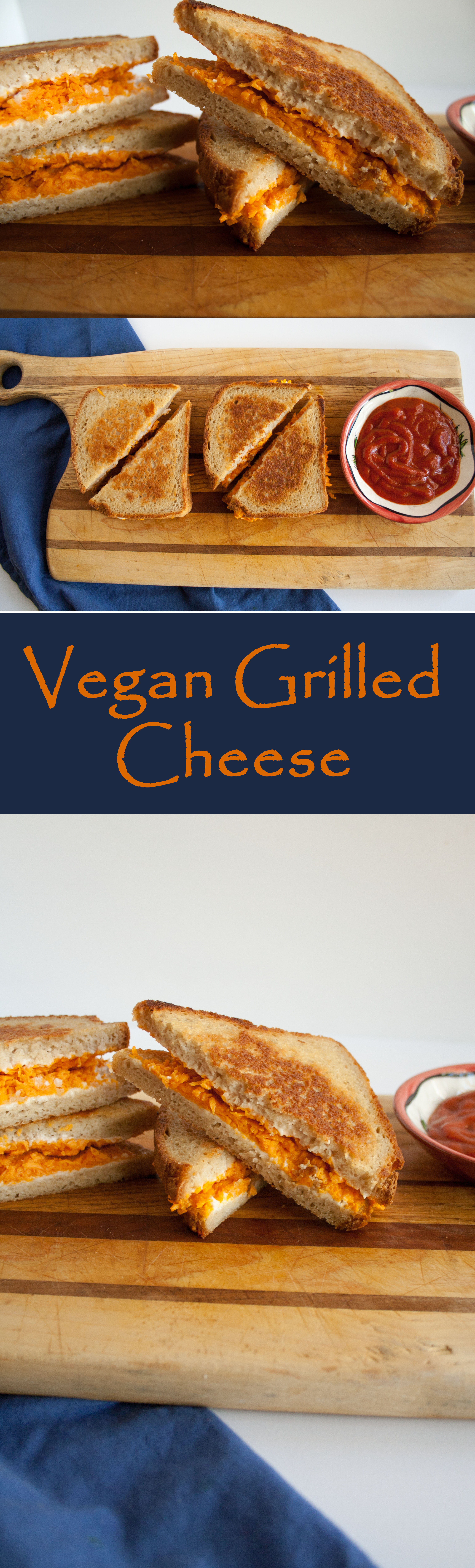 Vegan Grilled Cheese collage photo with text.