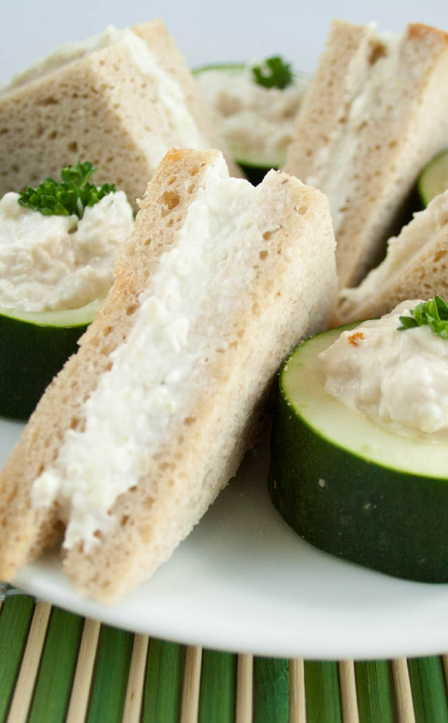 Benedictine Tea Sandwiches close up.