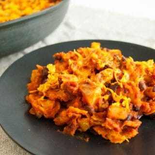 Black Bean and Sweet Potato Chilaquiles