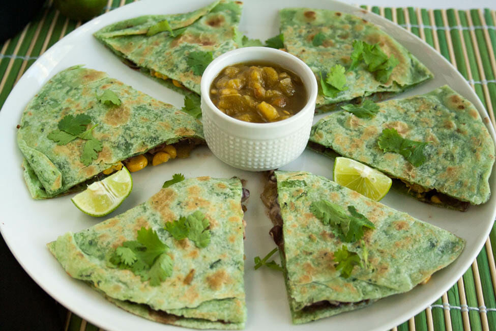 Black Bean and Corn Vegan Quesadilla on a plate.