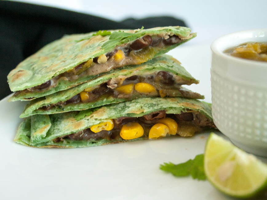 Black Bean and Corn Vegan Quesadilla stacked.