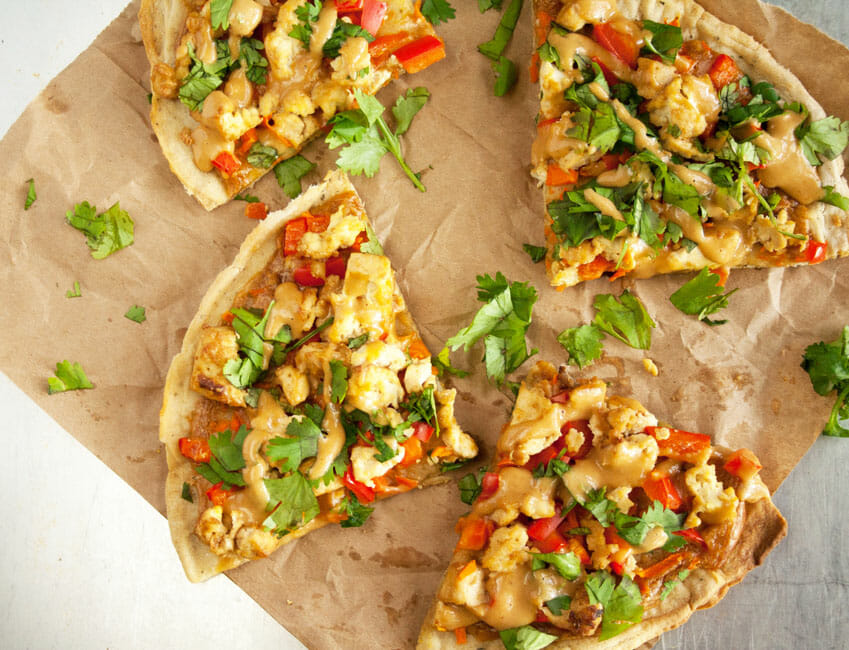 Thai Pizza on brown paper