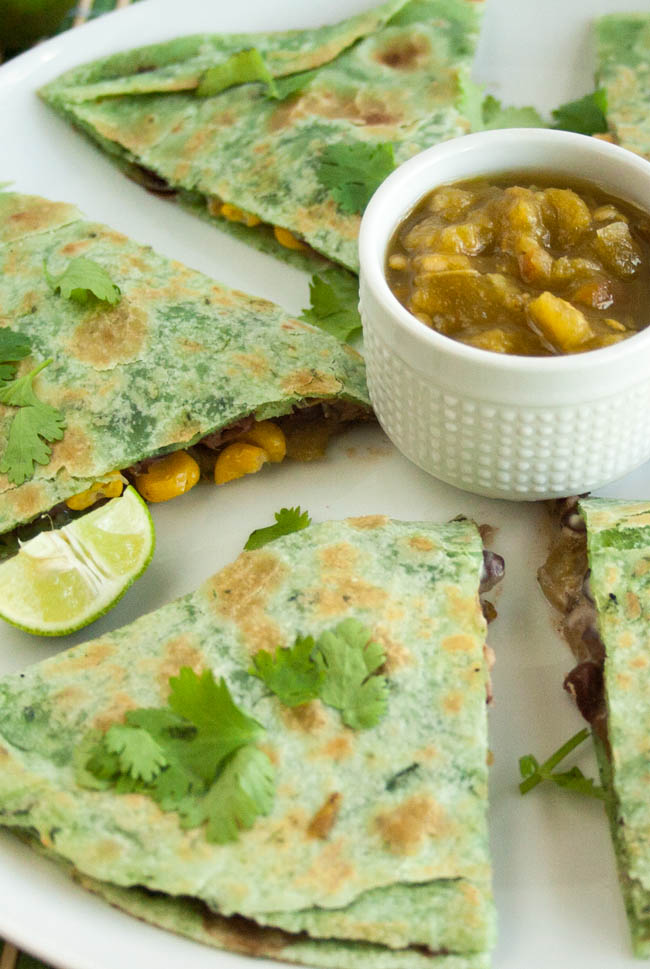Black Bean and Corn Vegan Quesadilla - vertical photo of sliced quesadilla.