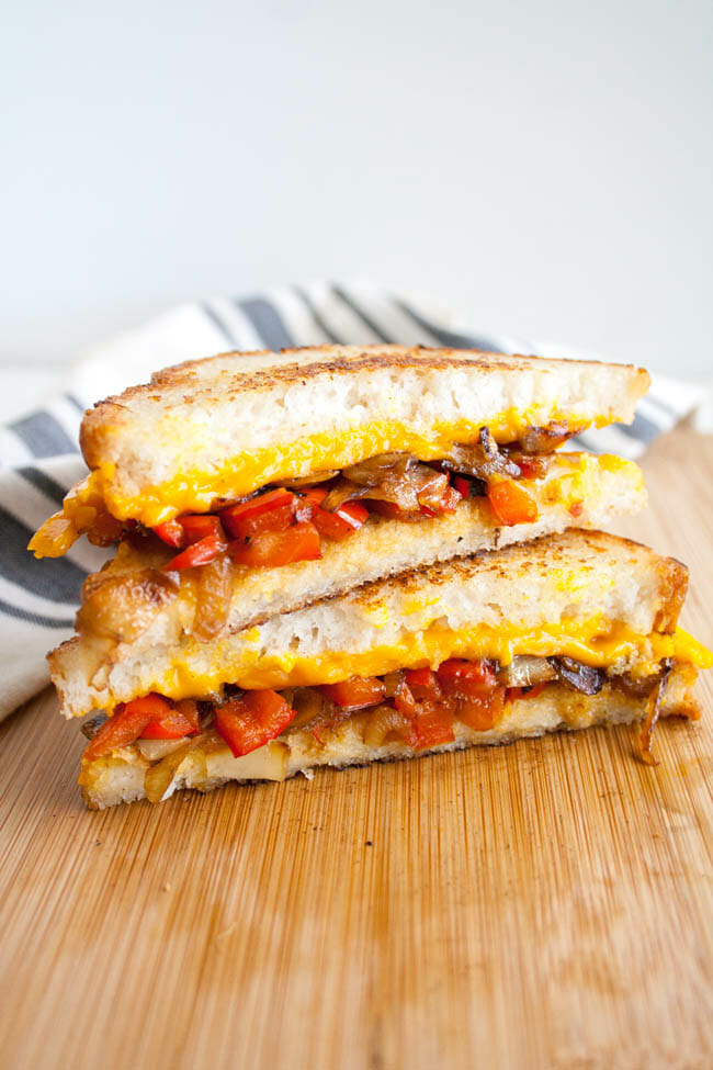 Vegan Grilled Cheese with Caramelized Onions and Red Pepper stacked.