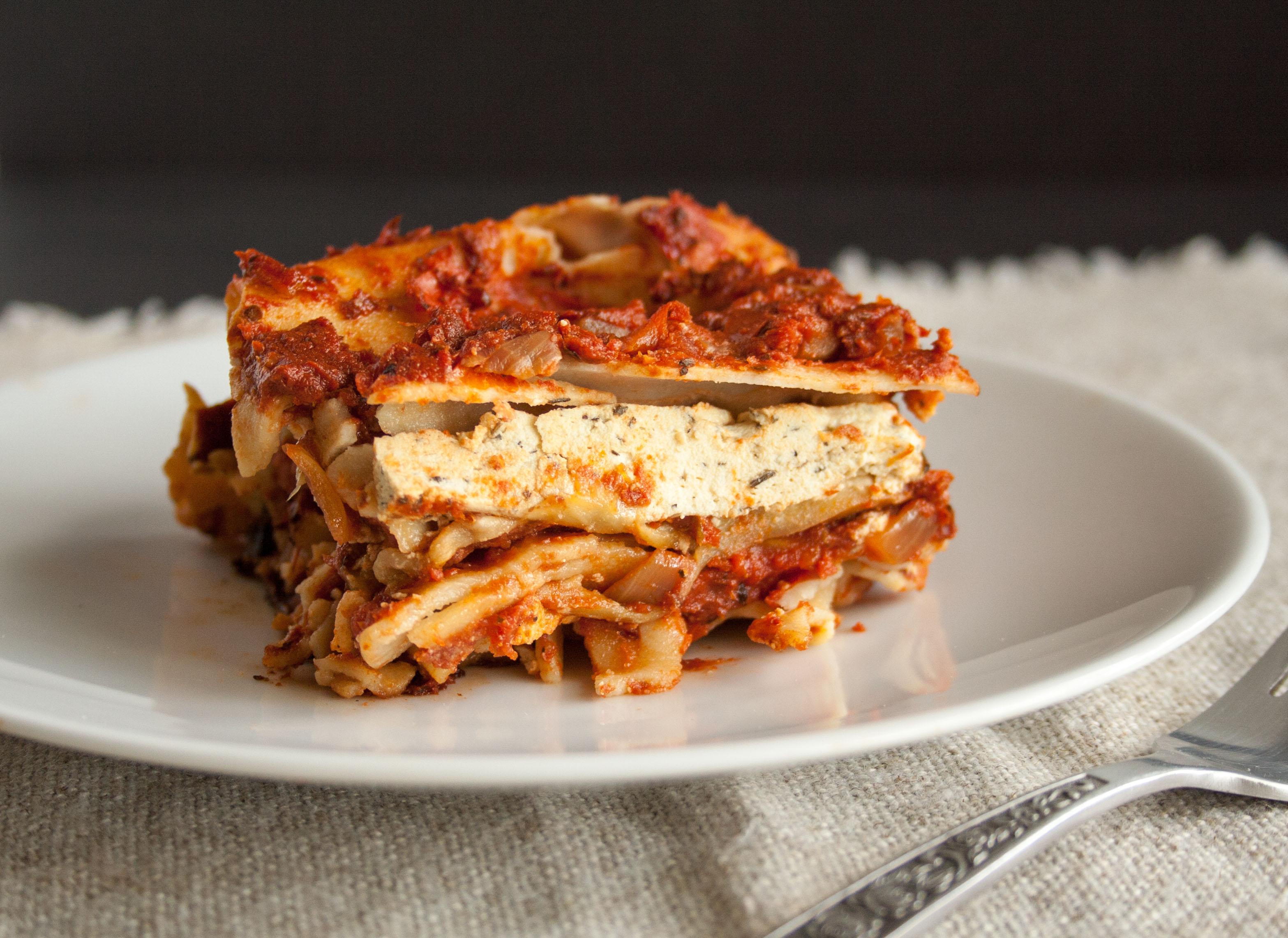 Eggplant Lasagna close up.