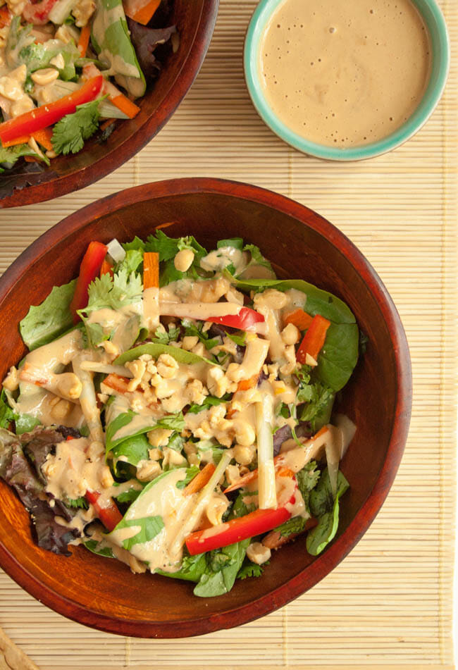 Thai Salad with Peanut Dressing bird's eye view