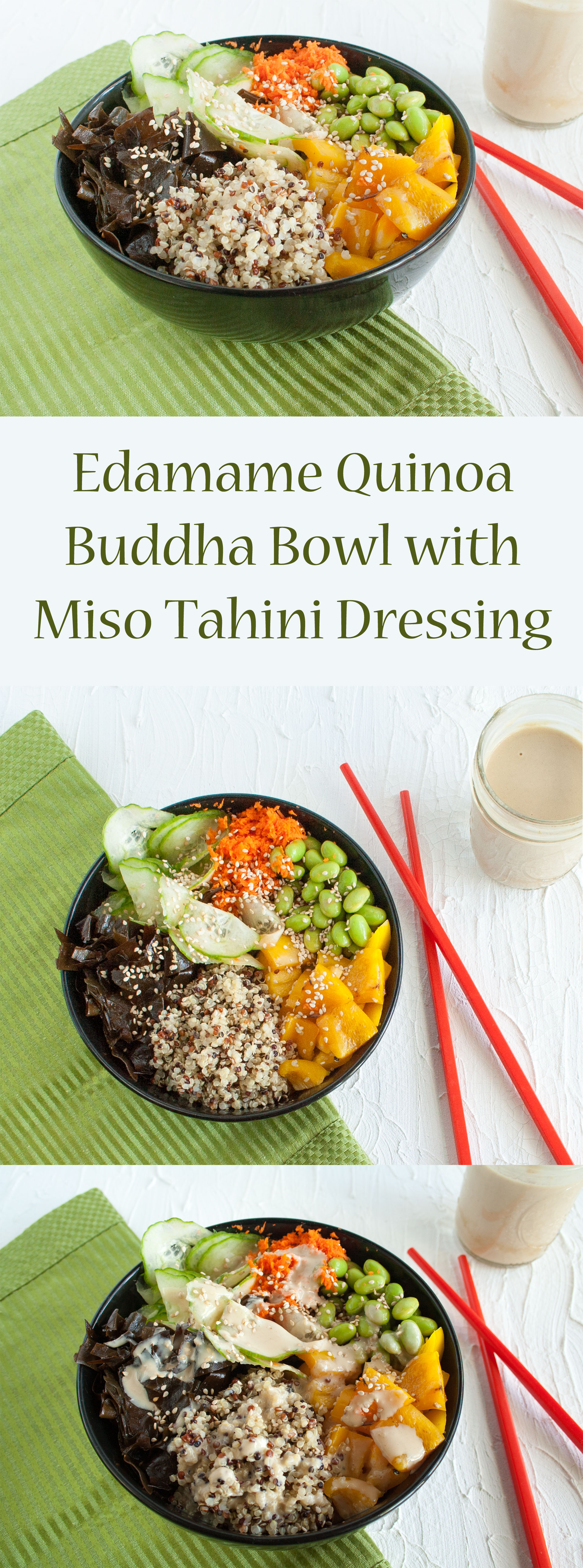 Edamame Quinoa Buddha Bowl with Miso Tahini Dressing collage photo with text.
