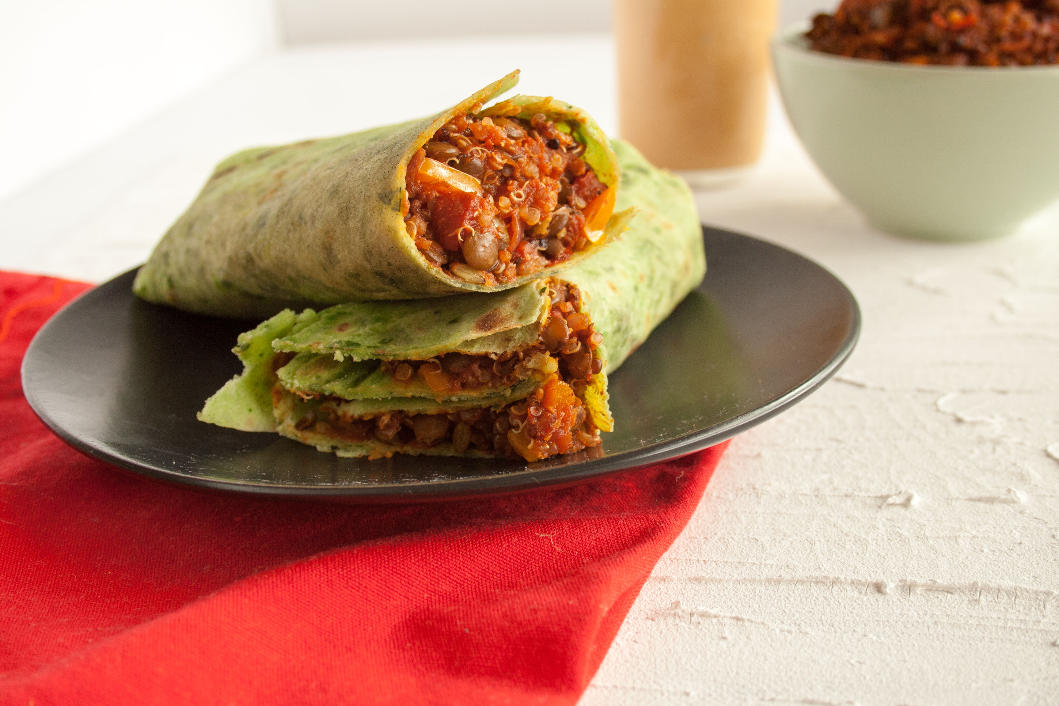 Lentil Quinoa Burritos with Chipotle Sauce
