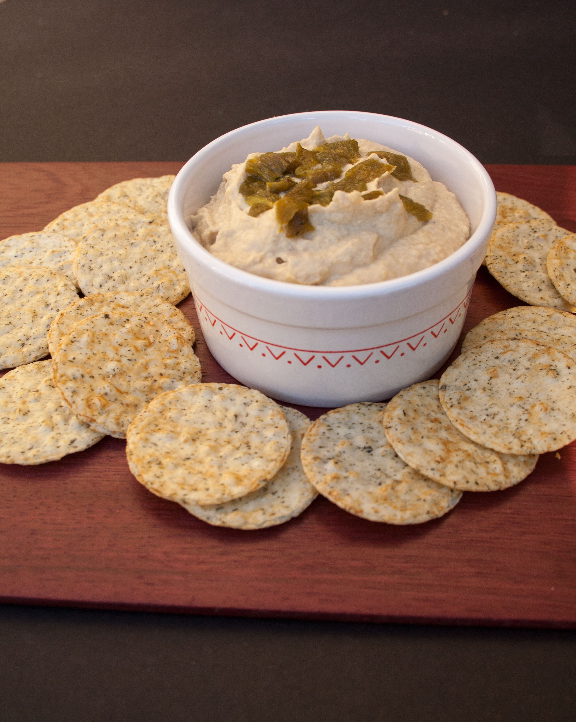 Roasted Hatch Chile Hummus (vegan, gluten free) -This spicy dip will be the hit of the party! Don't be surprised when your guests ask for more!