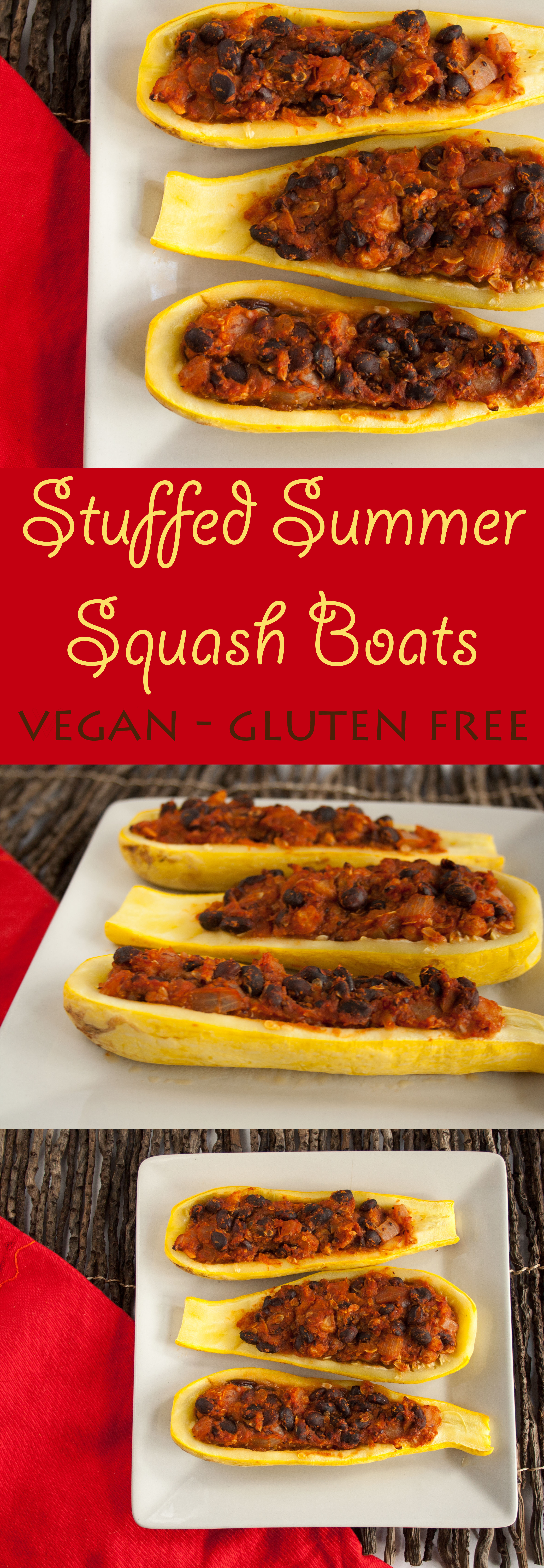 Stuffed Summer Squash Boats collage photo with text.