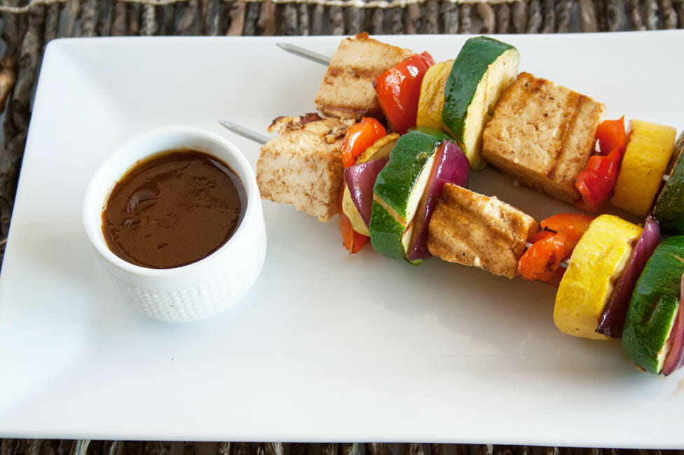 Tofu Kebabs with Hoisin Sauce on a plate.