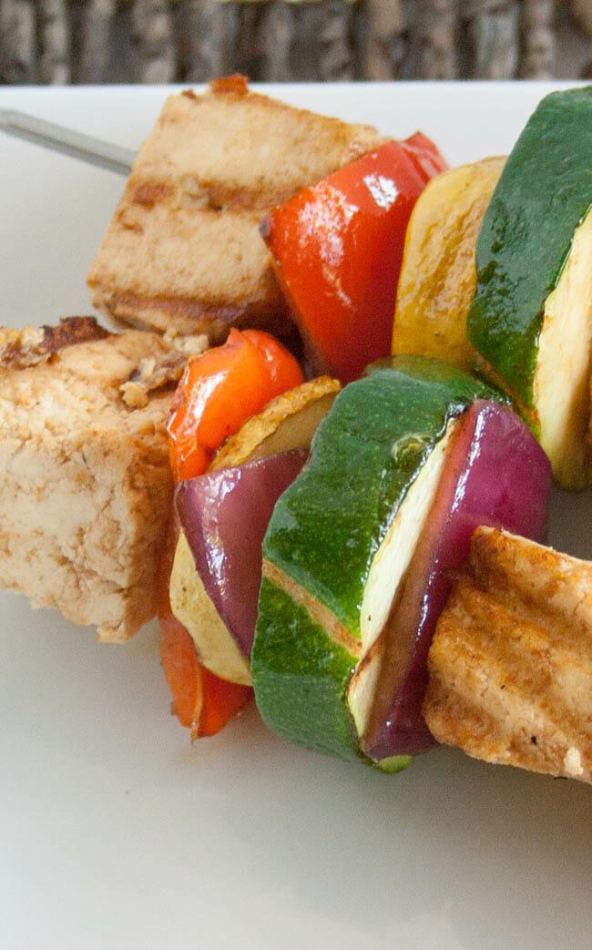 Tofu Kebabs with Hoisin Sauce close up.