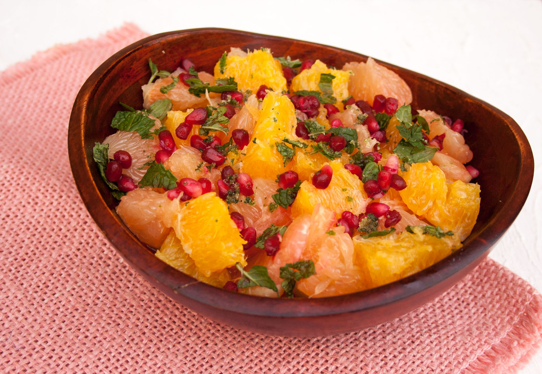 Citrus and Pomegranate Salad close up.