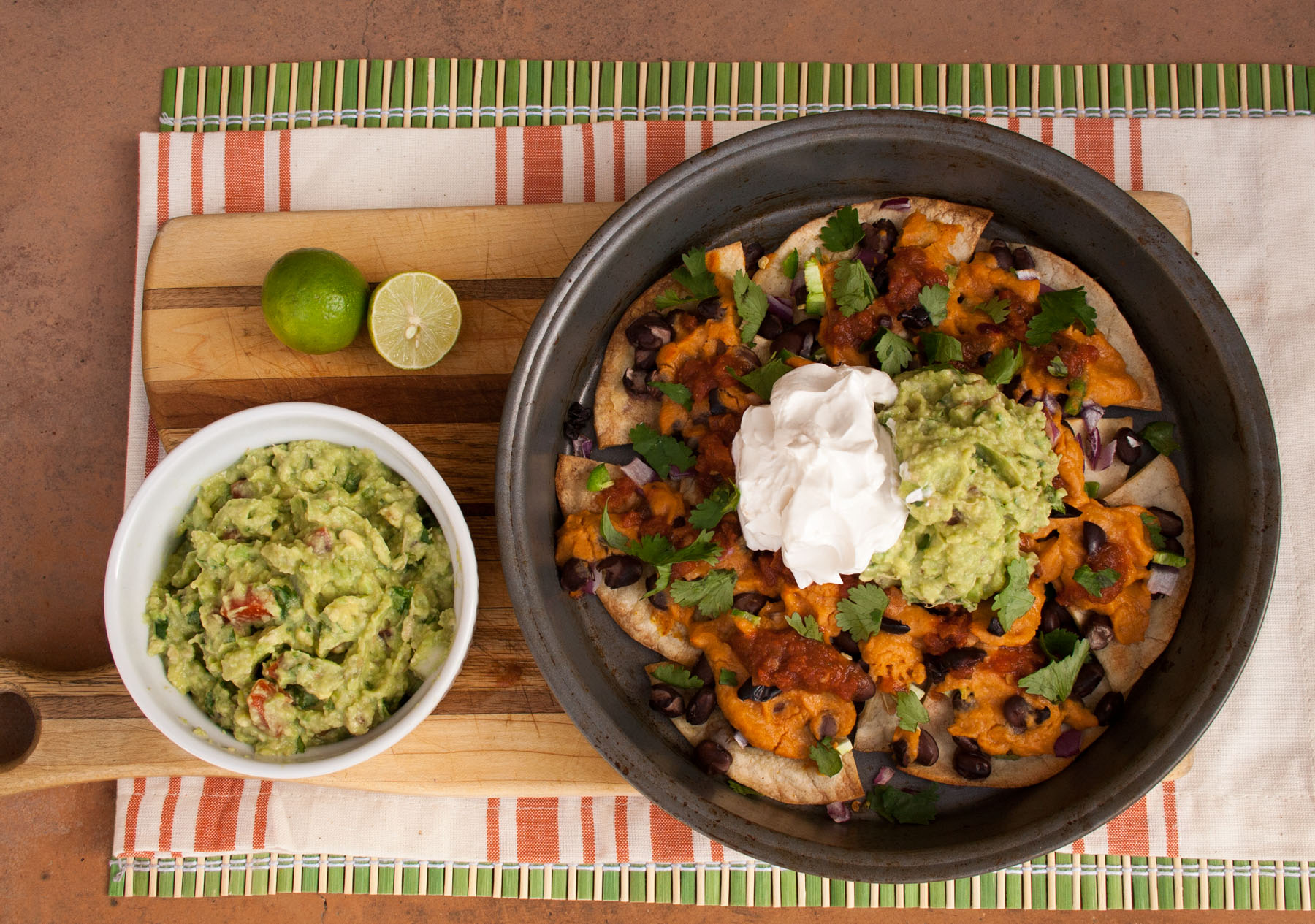 Loaded Vegan Nachos birds eye view.