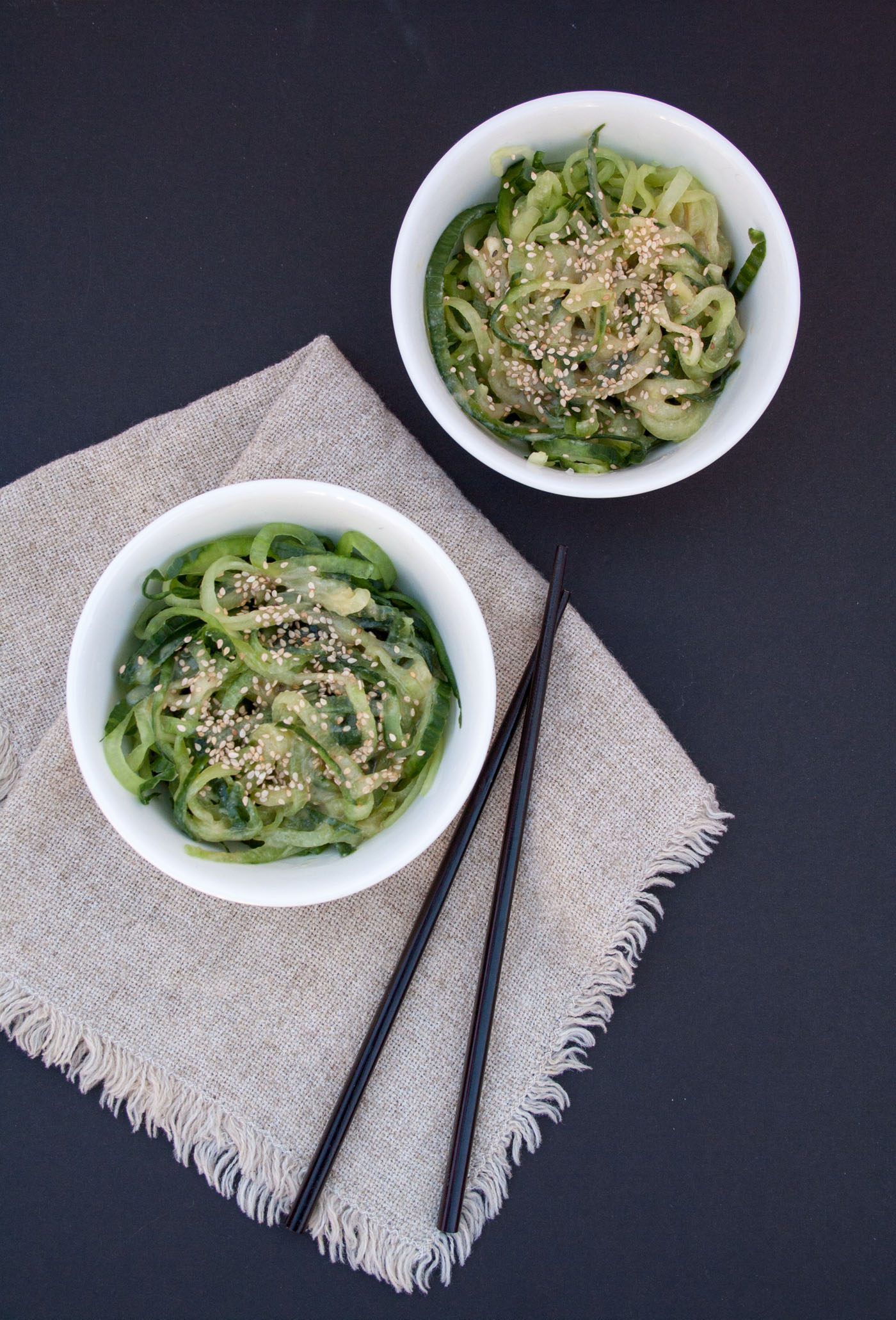 Miso Cucumber Noodles birds eye view.