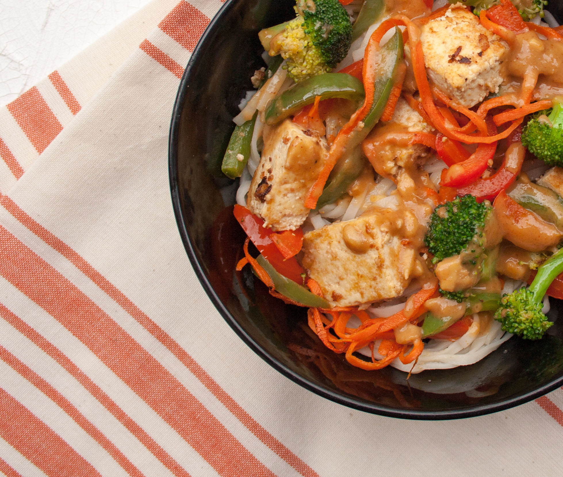 Sesame Ginger Tofu with Thai Noodles
