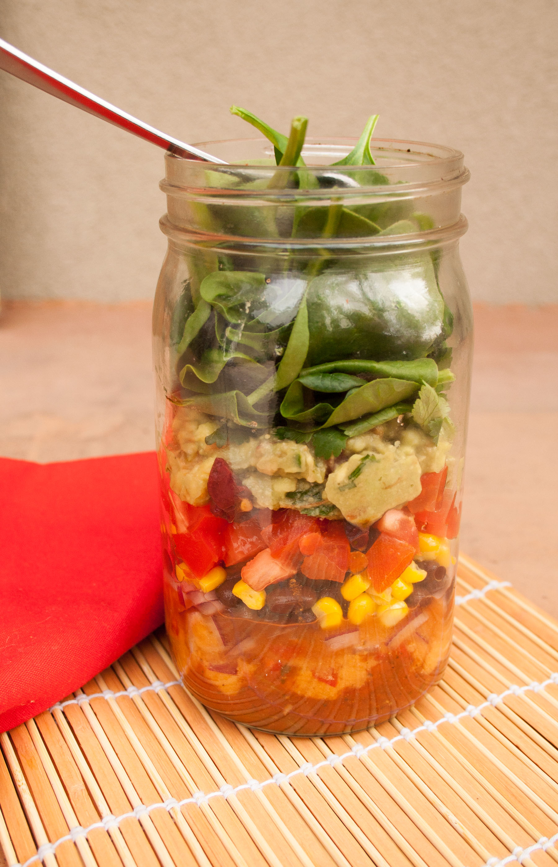 Taco Salad in a Jar close up.