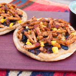 Vegan BBQ Tostadas with Chipotle Hummus and Caramelized Onions