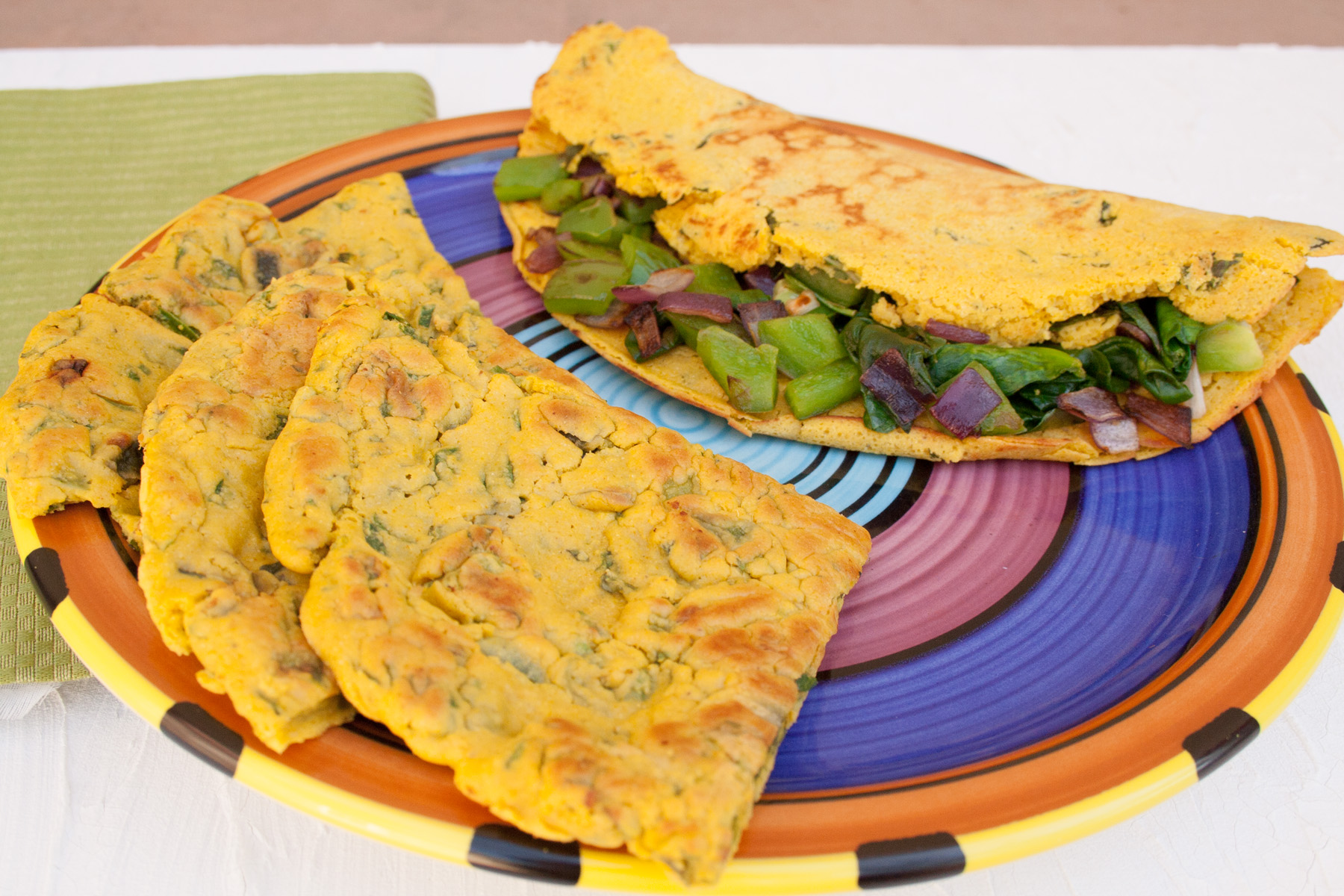 Vegan Chickpea Omelet Two Ways close up.