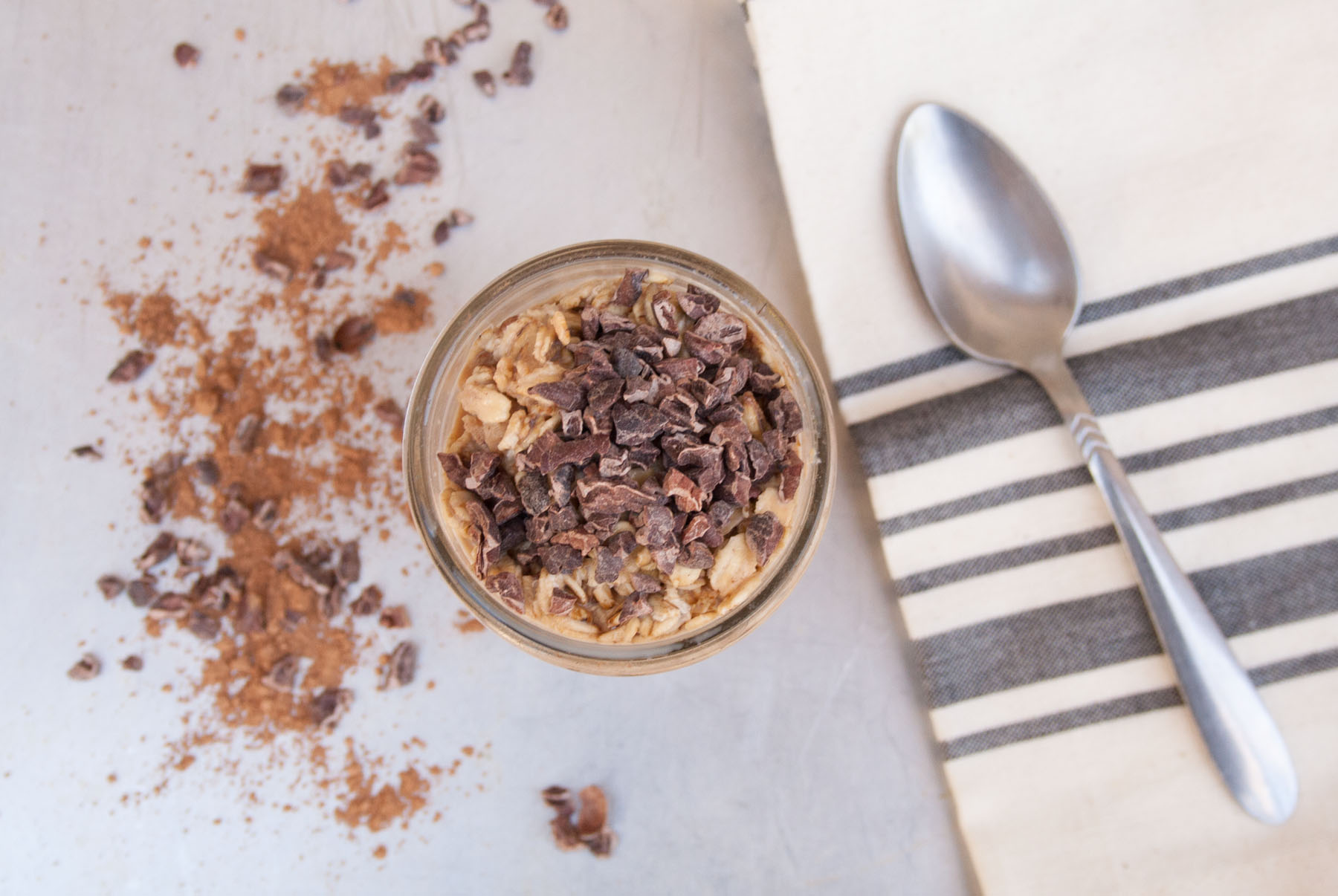 Chocolate Peanut Butter Overnight Oats horizontal birds eye view.
