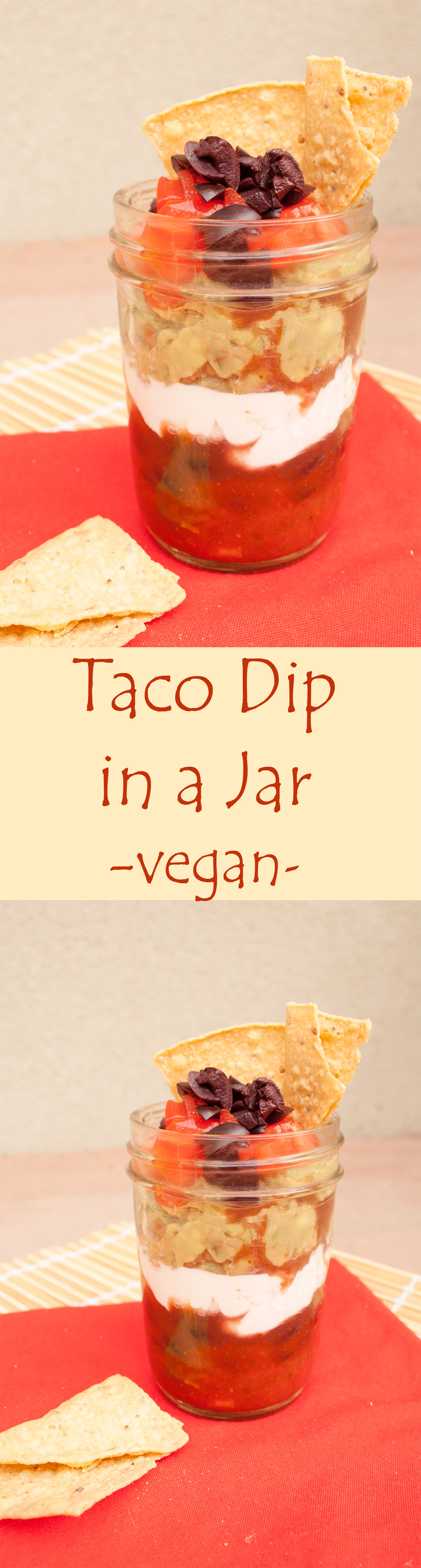 Taco Dip in a Jar collage photo with text.