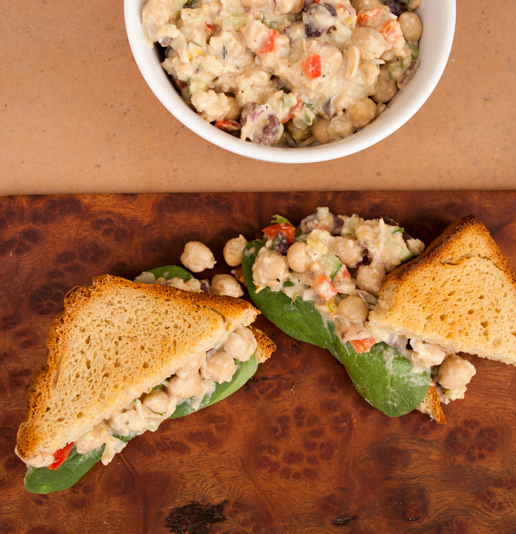 Chickpea Salad Sandwich with Vegan Tzatziki birds eye view.