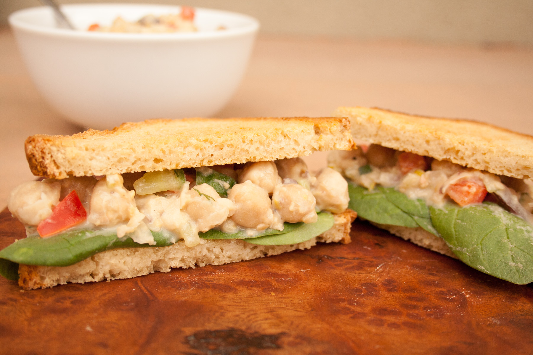 Chickpea Salad Sandwich with Vegan Tzatziki