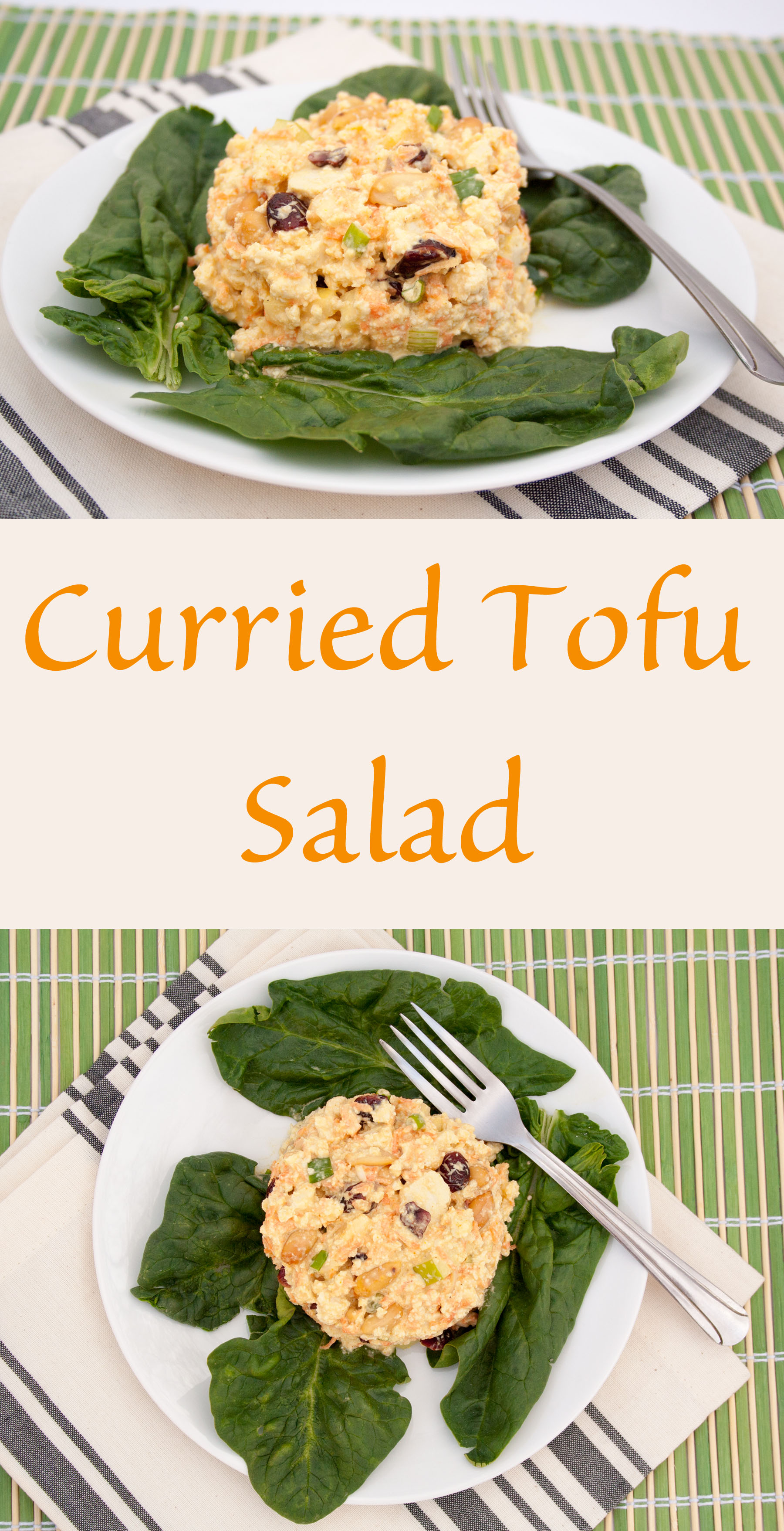 Curried Tofu Salad collage photo with text.