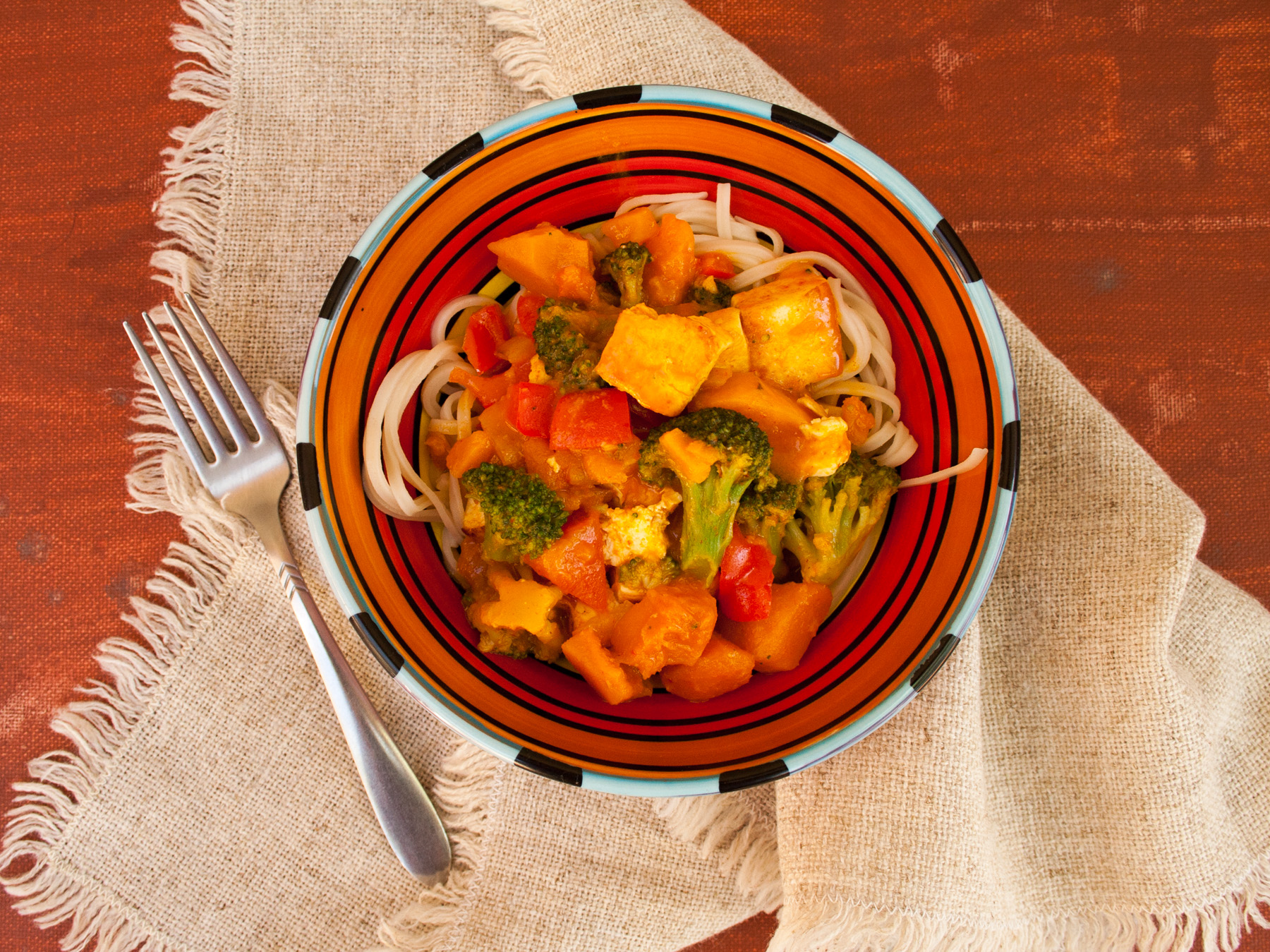 Thai Red Curry with Tofu and Kabocha Squash birds eye view.