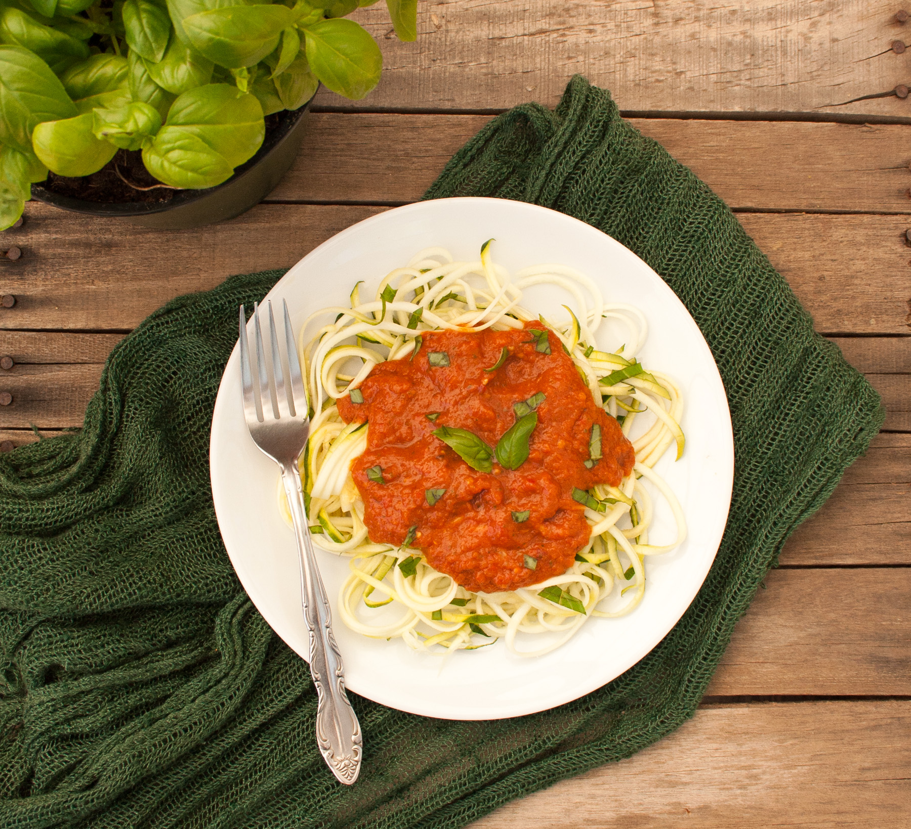 Zucchini Noodles with Raw Red Pepper Sauce birds eye view.