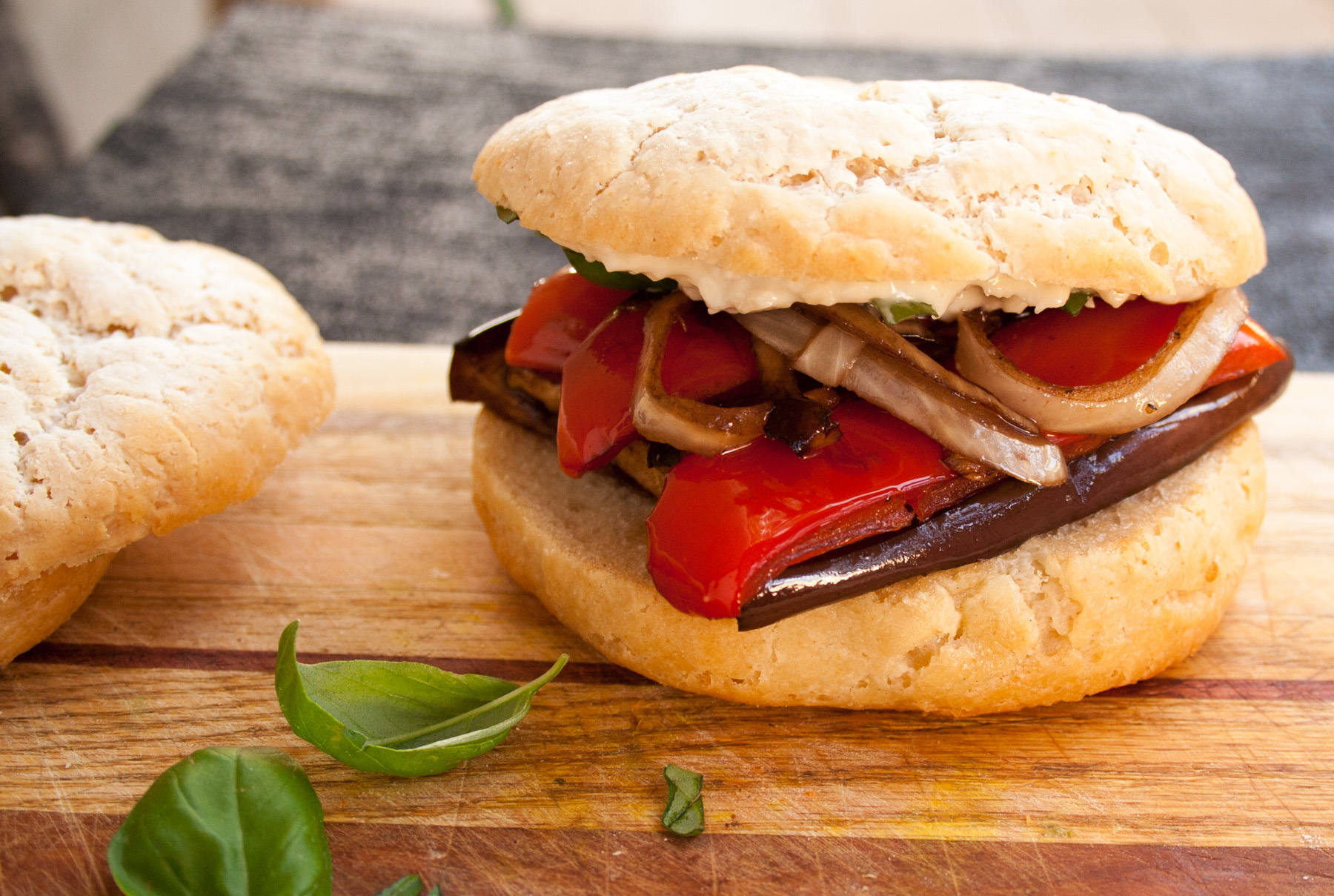 Balsamic Roasted Vegetable Sandwich close up.