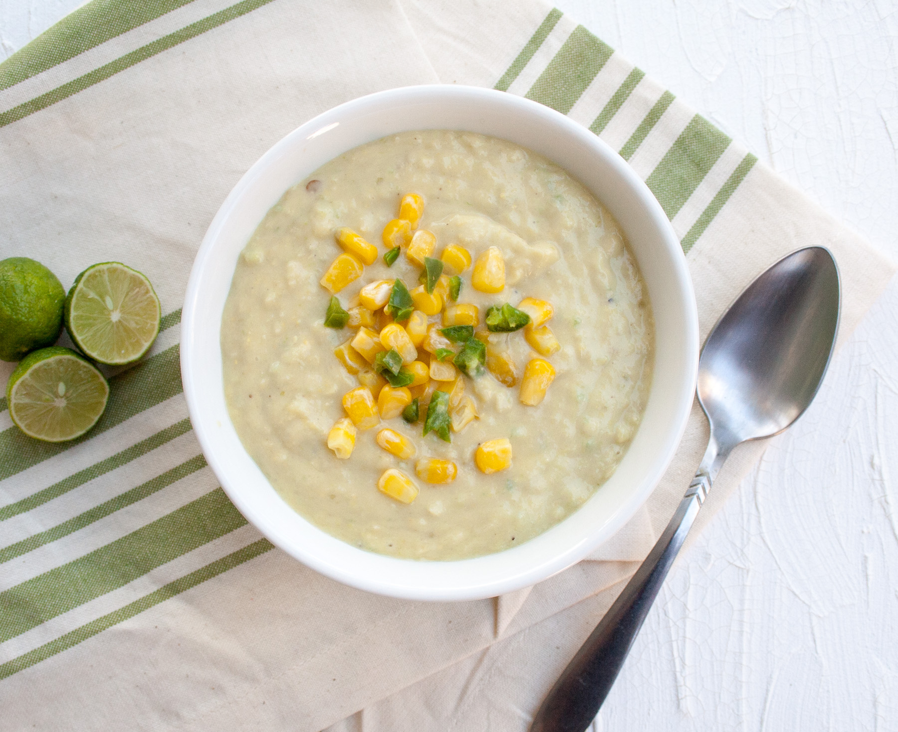 Creamy Corn Soup with Jalapeño birds eye view.