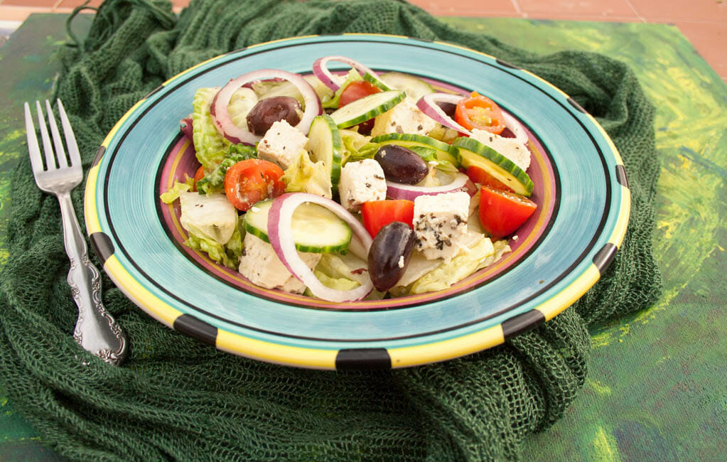 Greek Salad with Tofu Feta close up.