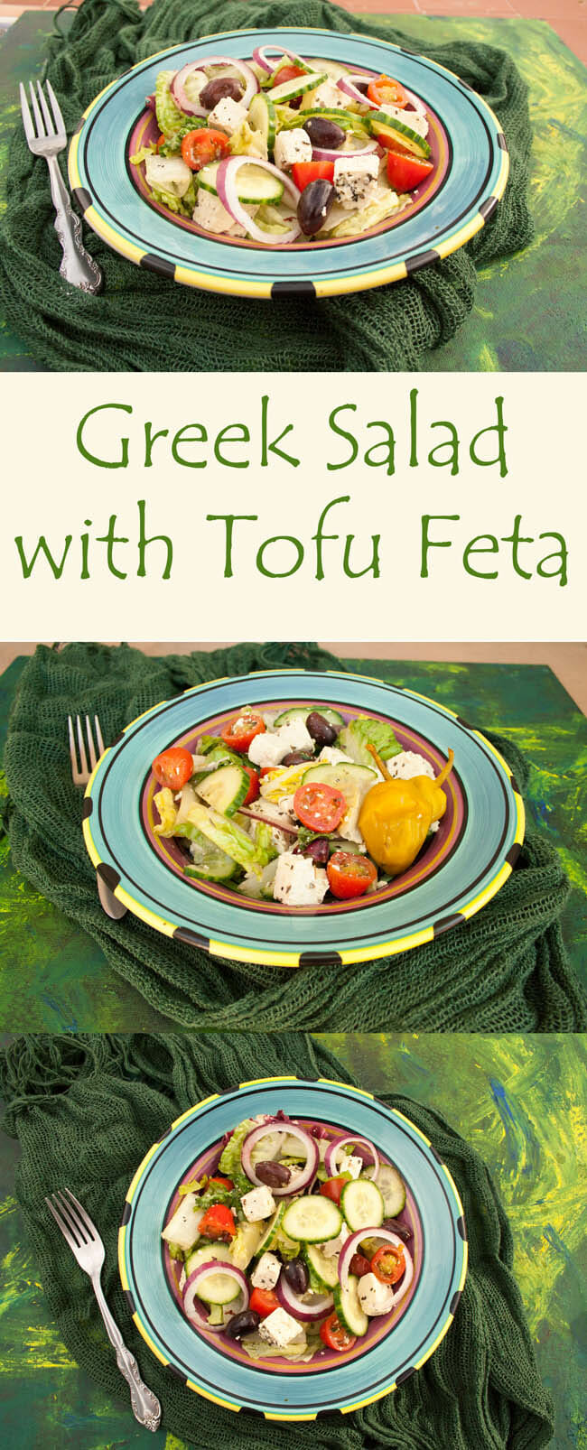 Greek Salad with Tofu Feta collage photo with text.