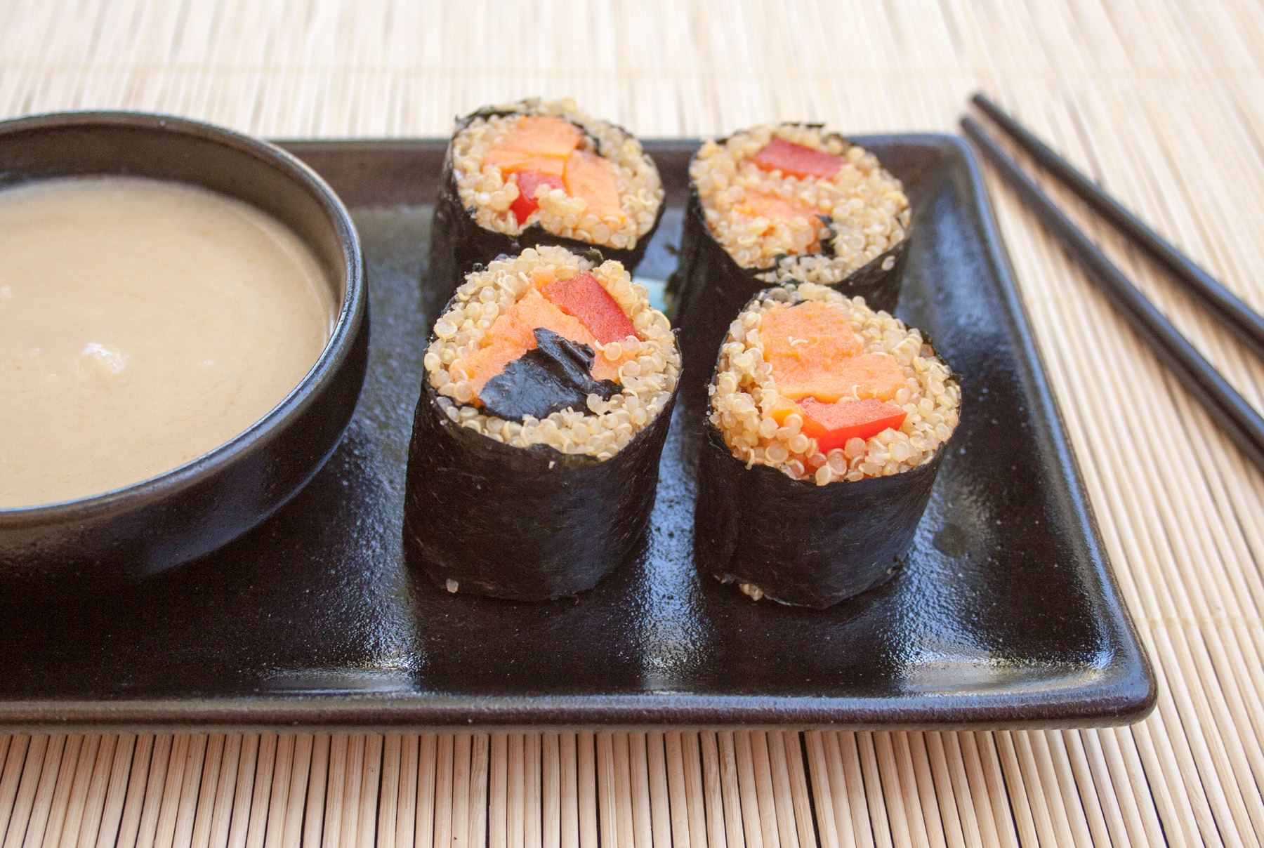 Sweet Potato Sushi Rolls close up.