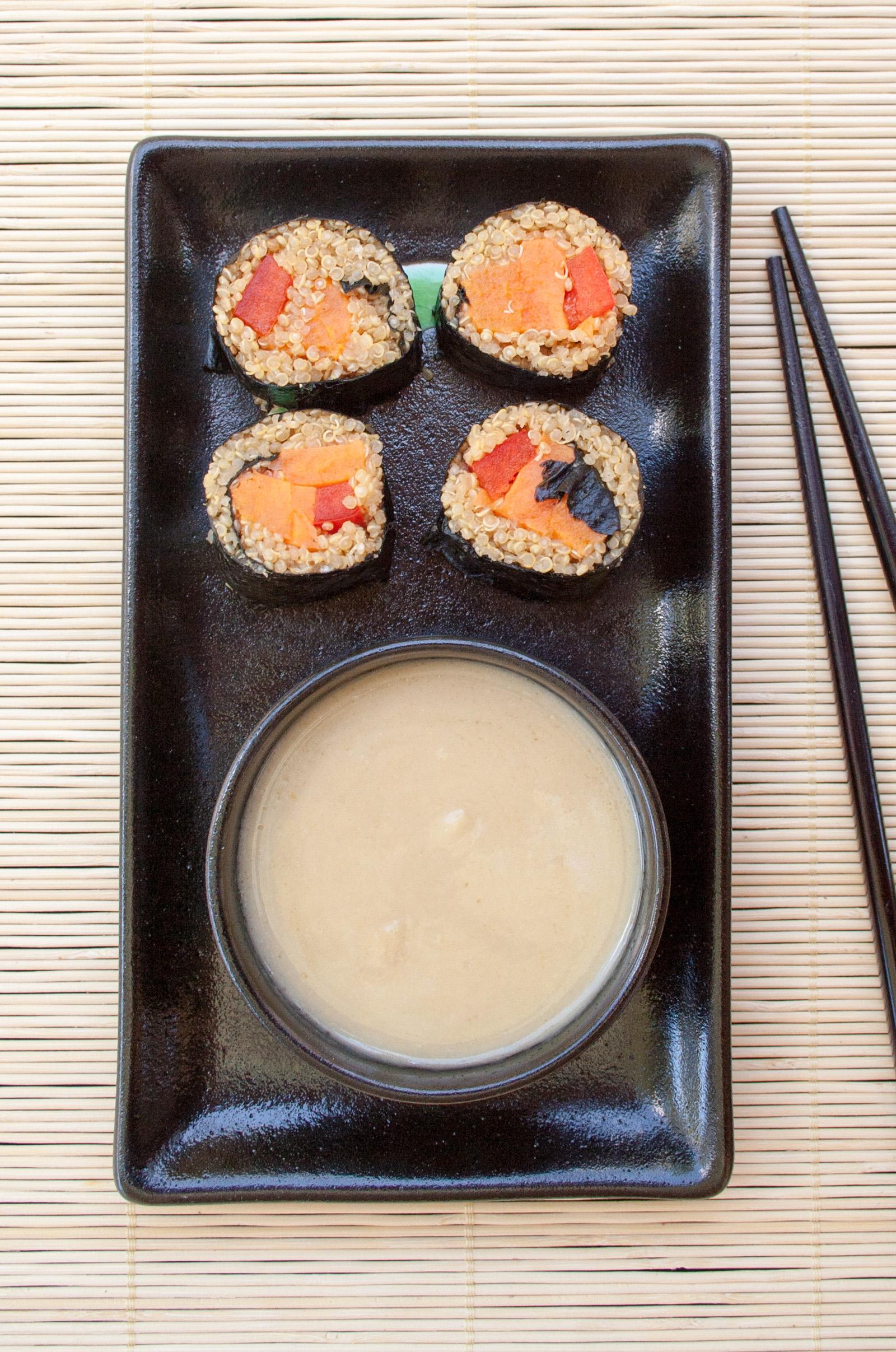 Sweet Potato Sushi Rolls birds eye view.