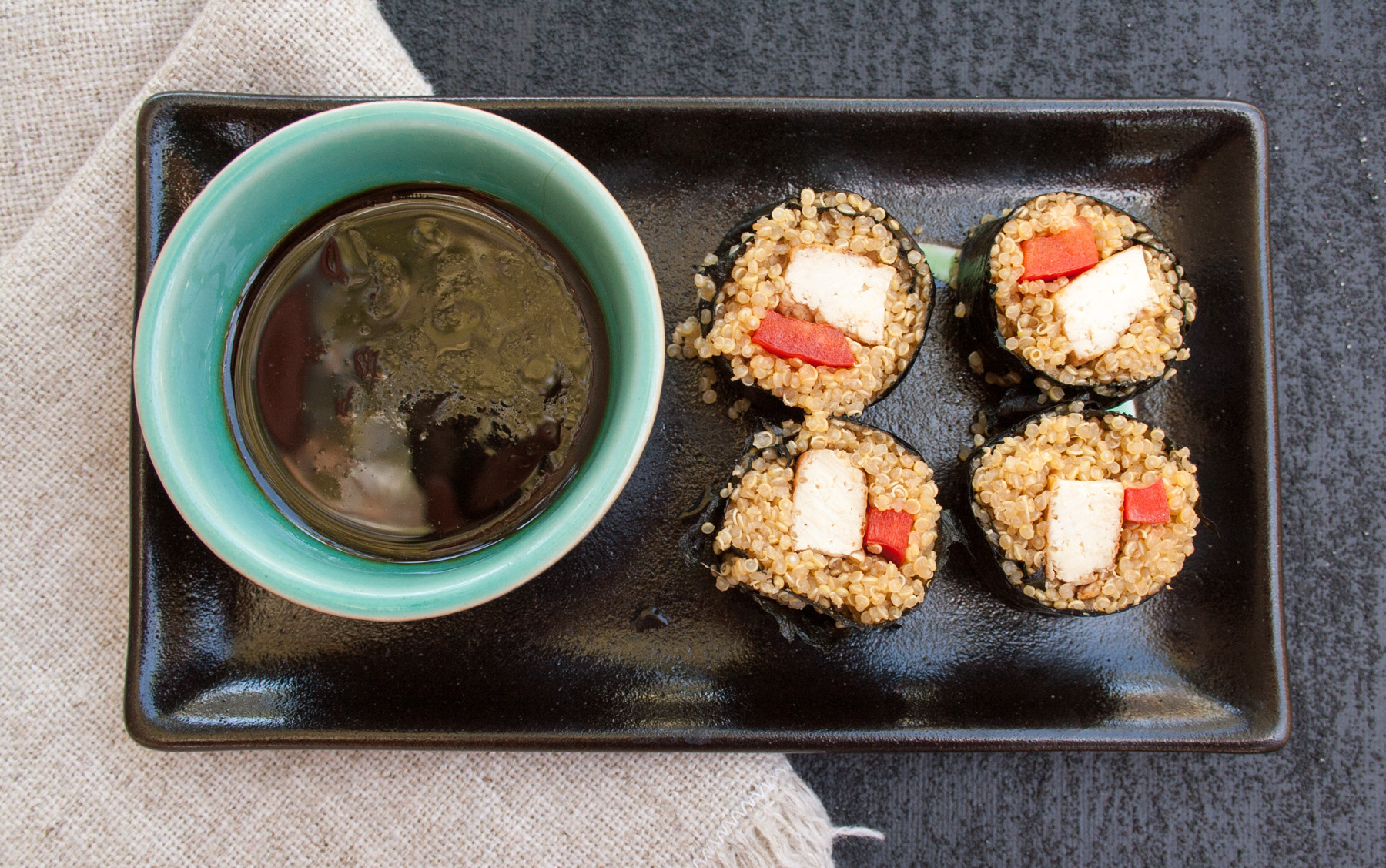 Quinoa Sushi birds eye view.