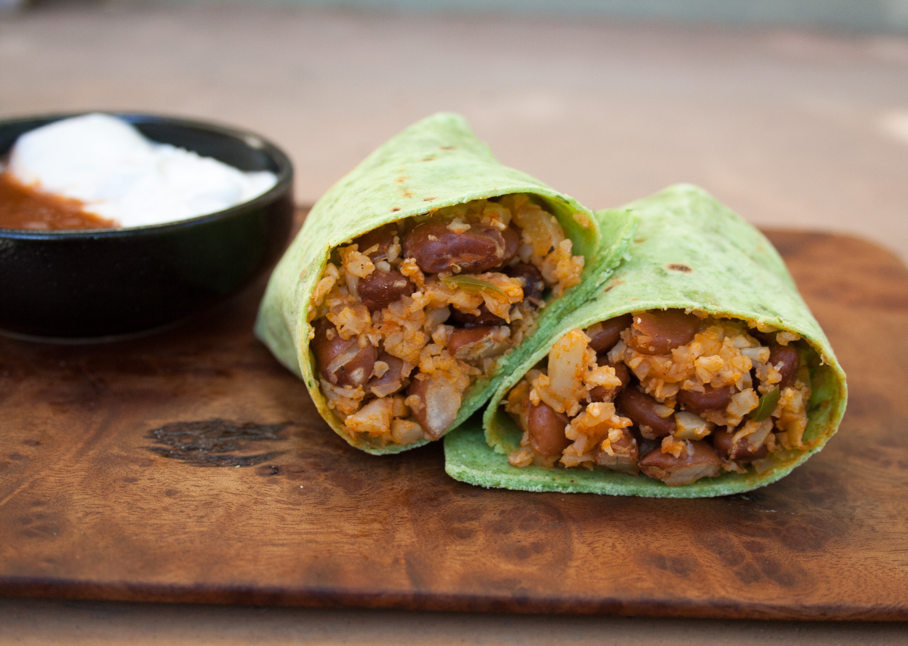 Bean and Mexican Cauliflower Rice Burritos close up