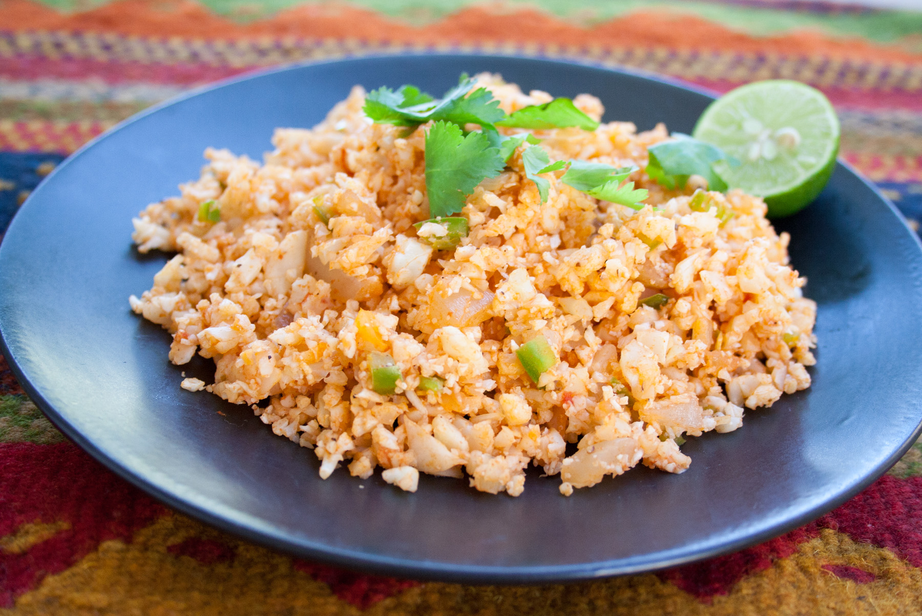 Mexican Cauliflower Rice close up.