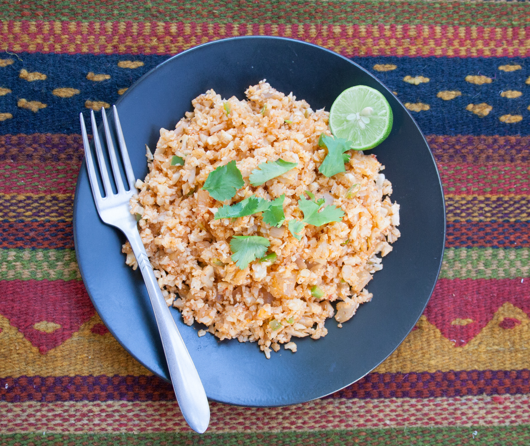Mexican Cauliflower Rice birds eye view.