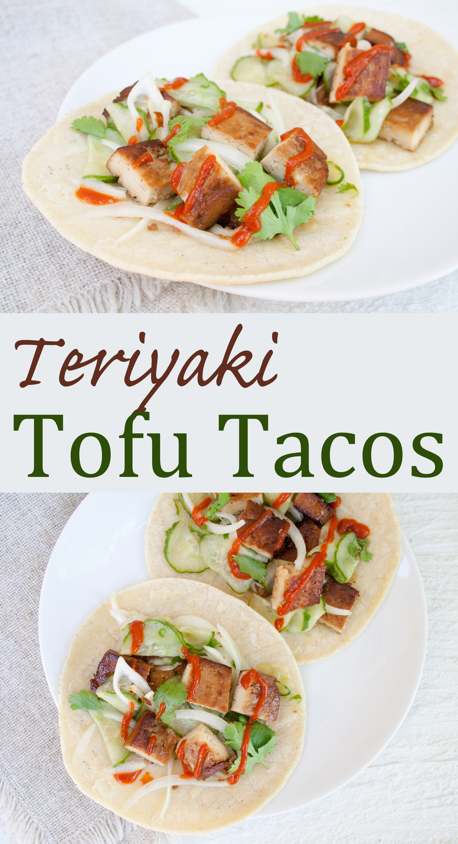 Teriyaki Tofu Tacos collage photo with text.