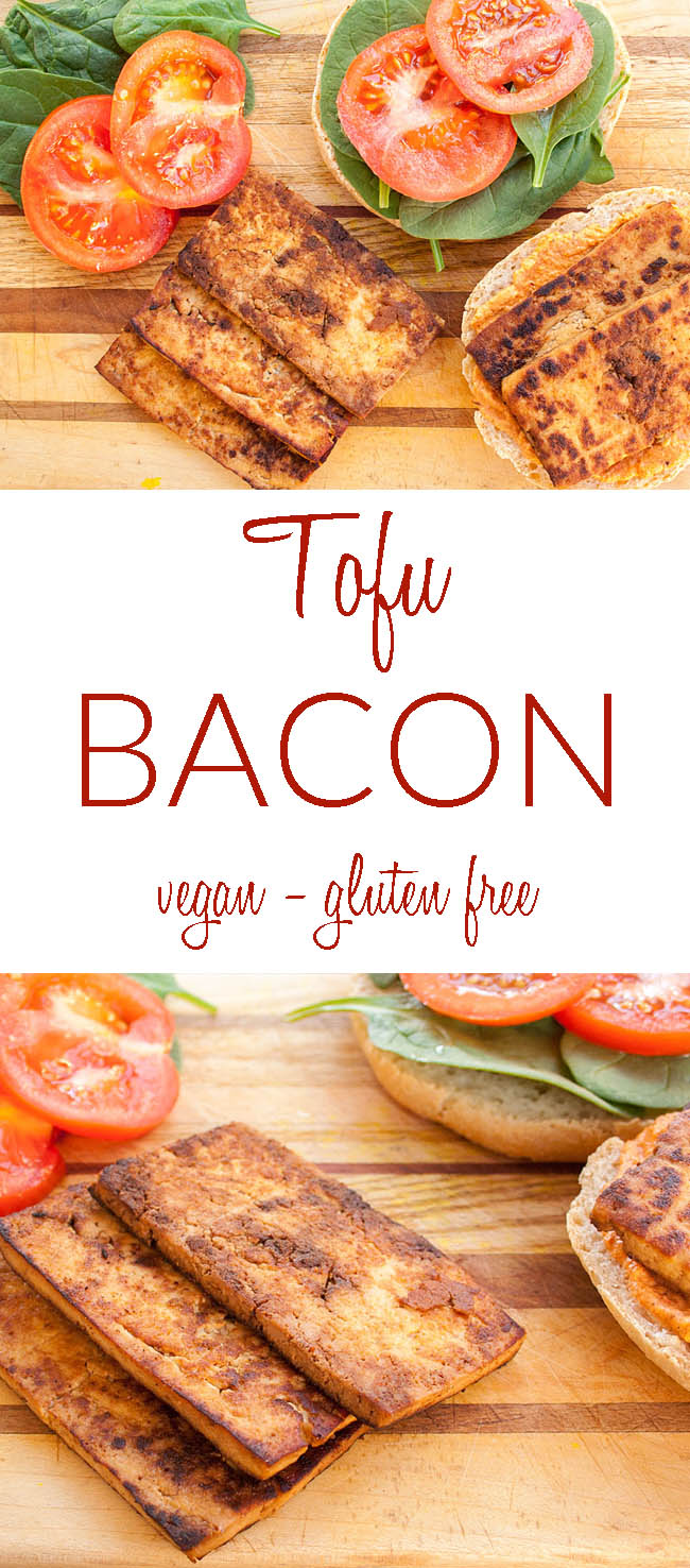 Tofu Bacon collage photo with text.