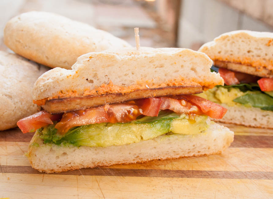 Vegan BLAT sliced in half.
