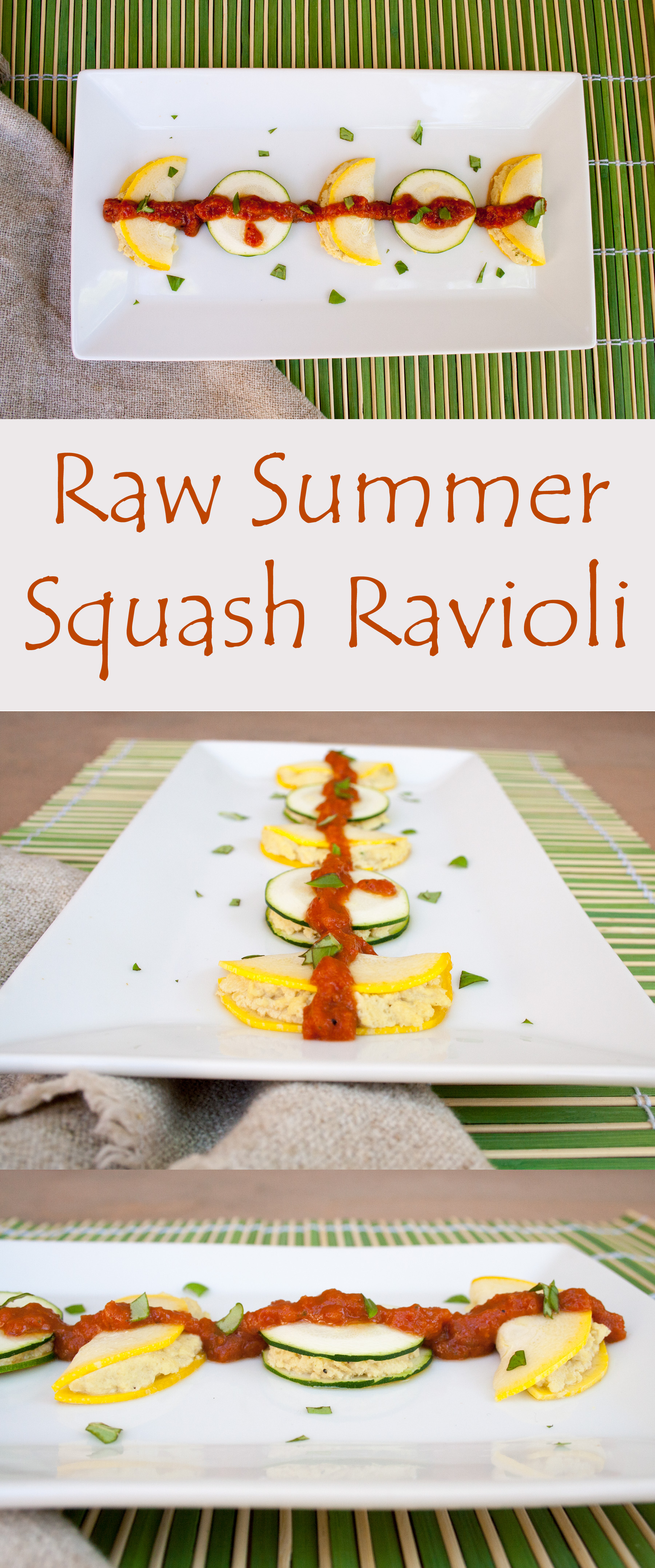 Raw Summer Squash Ravioli collage photo with text.